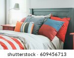 colorful pillows on bed in... | Shutterstock . vector #609456713