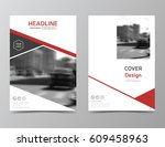 red annual report cover  modern ... | Shutterstock .eps vector #609458963