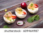 healthy meal with eggs and... | Shutterstock . vector #609464987