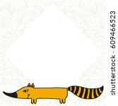 cute cartoon fox. vector... | Shutterstock .eps vector #609466523