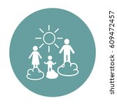flat icon. happy family and sun.... | Shutterstock .eps vector #609472457