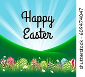 easter theme with  above the... | Shutterstock .eps vector #609474047