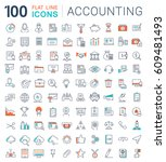 set  line icons in flat design... | Shutterstock . vector #609481493