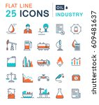 set  line icons in flat design... | Shutterstock . vector #609481637