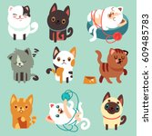 Stock vector cute cartoon cats funny playful kittens vector set pet funny kitty illustration of character 609485783