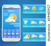 weather forecast app on... | Shutterstock .eps vector #609485927
