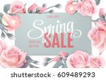 pink soft floral background... | Shutterstock .eps vector #609489293