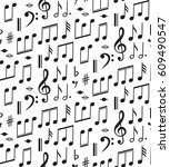 music seamless pattern with... | Shutterstock .eps vector #609490547