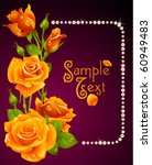 Vector Orange Rose And Pearls...