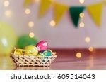 Easter Eggs In A Wicker Basket...