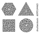 set of 4 maze   square  circle  ... | Shutterstock .eps vector #609514463