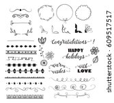 big set of decorative elements... | Shutterstock .eps vector #609517517