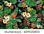 tropical watercolor floral... | Shutterstock . vector #609520853