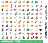 100 woman icons set in... | Shutterstock .eps vector #609521807