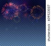 colourful fireworks vector on... | Shutterstock .eps vector #609523037