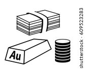 valuables and money icon. stack ... | Shutterstock . vector #609523283