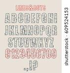 decorative alphabet vector font....   Shutterstock .eps vector #609524153