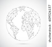 polygonal globe with worl map... | Shutterstock . vector #609526157