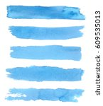 collection of blue brushes.... | Shutterstock .eps vector #609535013
