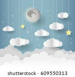 paper art of goodnight and... | Shutterstock .eps vector #609550313