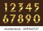 set of gold numbers.vector... | Shutterstock .eps vector #609562727