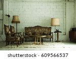 vintage sofa in living room | Shutterstock . vector #609566537