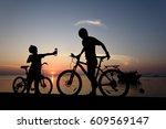 silhouette lovely family at...   Shutterstock . vector #609569147