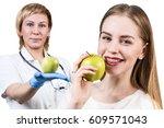 Dentist Giving Apple Fruit To...