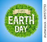 earth day green postcard with... | Shutterstock .eps vector #609572753