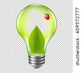 eco bulb with ladybug with... | Shutterstock .eps vector #609572777