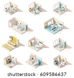 vector isometric low poly... | Shutterstock .eps vector #609586637
