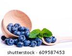 fresh sweet blueberry fruit ena ...   Shutterstock . vector #609587453