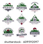 set of vector mountain and... | Shutterstock .eps vector #609592097