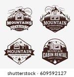 set of vector mountain... | Shutterstock .eps vector #609592127