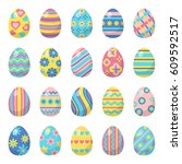 easter eggs for easter holidays ... | Shutterstock .eps vector #609592517