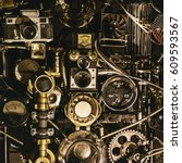 Small photo of Interesting mechanism from different parts. Concept of steampunk engineering.