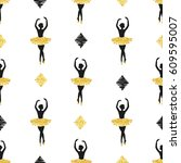seamless pattern with dancing... | Shutterstock .eps vector #609595007