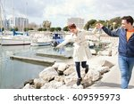 beautiful young tourist couple... | Shutterstock . vector #609595973