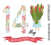 cute card for mother's day with ... | Shutterstock .eps vector #609598043