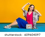 young beautiful stylish woman...   Shutterstock . vector #609604097
