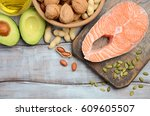 selection of healthy fat... | Shutterstock . vector #609605507