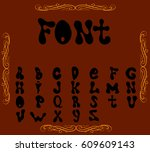 english alphabet. black and... | Shutterstock .eps vector #609609143