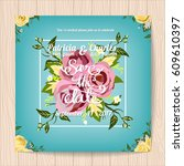 wedding invitation card... | Shutterstock .eps vector #609610397