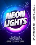 neon lights party music poster. ... | Shutterstock .eps vector #609622613