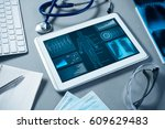 white tablet pc and doctor... | Shutterstock . vector #609629483