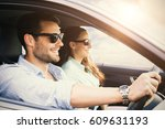 image of a couple in a car... | Shutterstock . vector #609631193