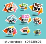 paper sale labels. discount... | Shutterstock .eps vector #609635603