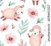 watercolor illustration of cute ... | Shutterstock . vector #609641327