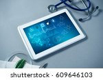 white tablet pc and doctor... | Shutterstock . vector #609646103