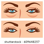 woman eyes before and after... | Shutterstock .eps vector #609648257